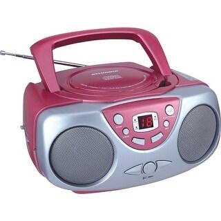 Sylvania Srcd243M Pink Portable Cd Boom Box With Am/Fm Radio (Pink)