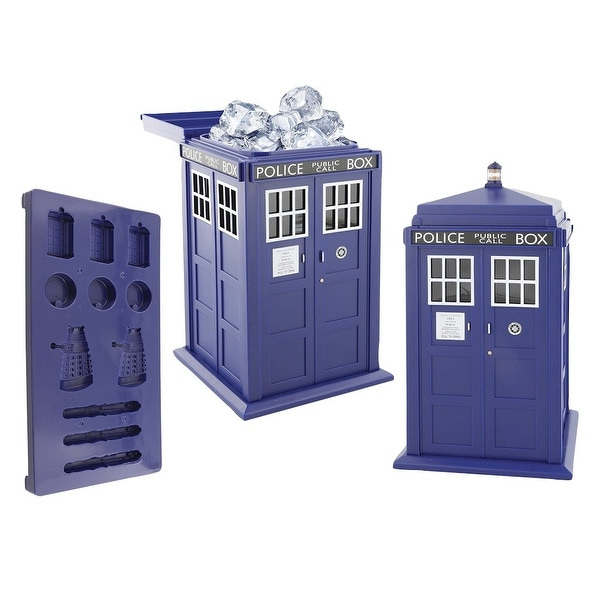 Doctor Who Tardis Ice Bucket And Shaped Silicone Cube Tray Set Multi