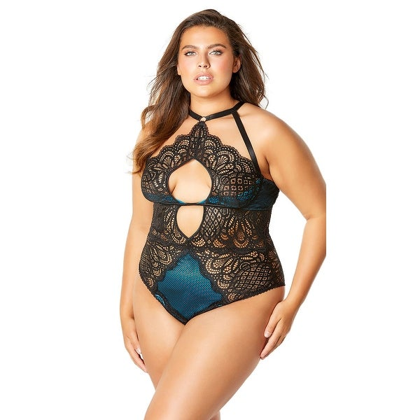 098683cbe42 Shop Bernice Lace And Mesh Bodysuit - Black Peacock - Free Shipping On Orders  Over  45 - Overstock - 27742650