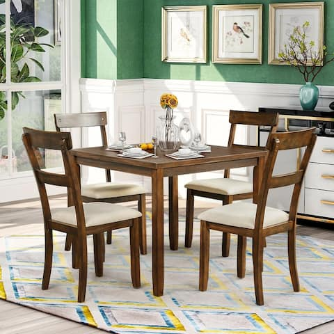 5 Piece Dining Table Set Industrial Wooden Kitchen Table and 4 Chairs American Walnut