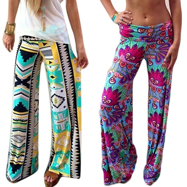 Women's Summer Floral Pants Casual High Waist Flare Wide Leg Long Trousers. Opens flyout.