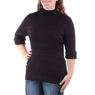 STYLE & COMPANY $24 Womens New 1103 Purple Fitted Textured Cuffed Top XL B+B