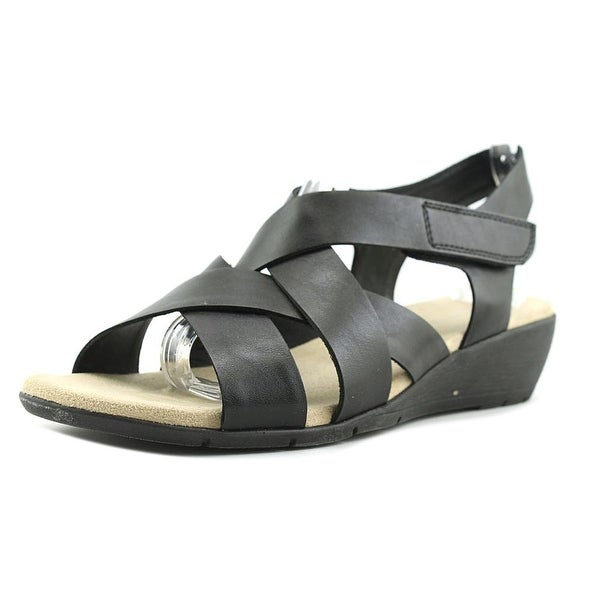 Relativity Kit Women Open-Toe Leather Black Fisherman Sandal