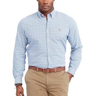 Ralph Lauren Big and Tall Tattersal Check Button Down Oxford Shirt Blue XLT