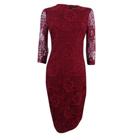 Jessica Simpson Women's Lace Midi Sheath Dress - Red