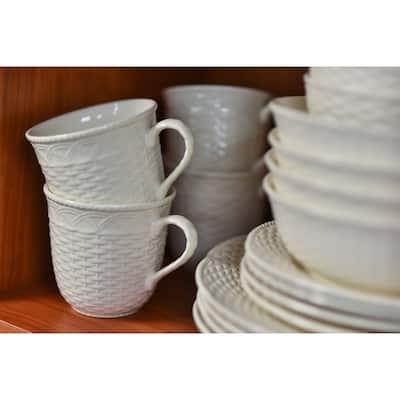 Red Vanilla Nantucket White Mug 16oz Set /4