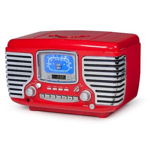 Crosley Corsair Vintage Style Radio - CD Player Alarm Clock - Red - 7 in. x 11.25 in. x 7 in.