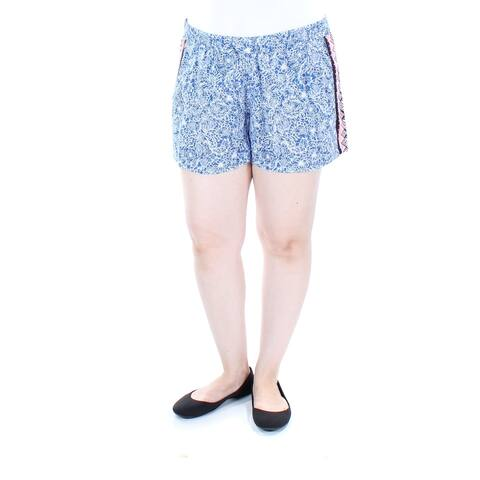 FRENCH CONNECTION Womens Blue Tie Printed Short Size: 12