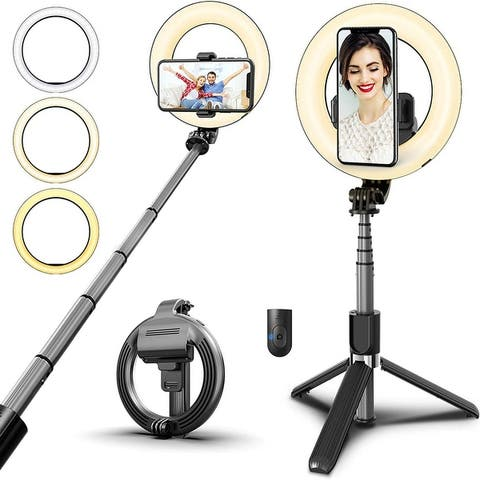 Rechargeable Dimmable Selfie Ring Light with Tripod Stand & Remote