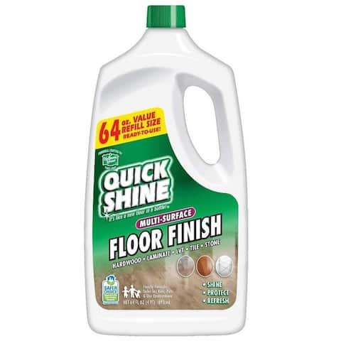 Quick Shine 64oz Multi-Surface Floor Finish and Polish, Refill Bottle, 2 Bottles included