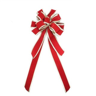 """29.5"""" Red Velveteen with Gold Edge Trim 10 Loop Christmas Bow Decoration"""