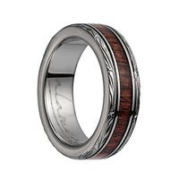 Titanium Domed Wedding Band With Pink Ivory Inlay & Leaf Designed Edges - 6mm