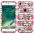 Insten Pink/ White Fresh Roses Tuff Hard PC/ Silicone Dual Layer Hybrid Rubberized Matte Case Cover For Apple iPhone 7 - Thumbnail 0