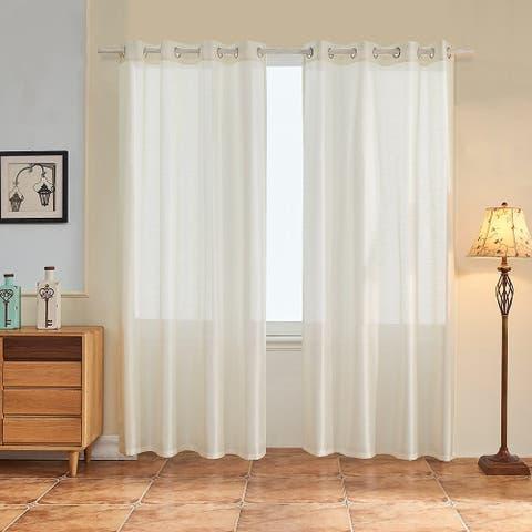 Subrtex 2-Piece Faux Silk Semi-Sheer Window Curtains Panels