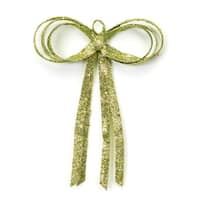 """12"""" Christmas Brites Glitter Drenched Green Bow Decoration"""