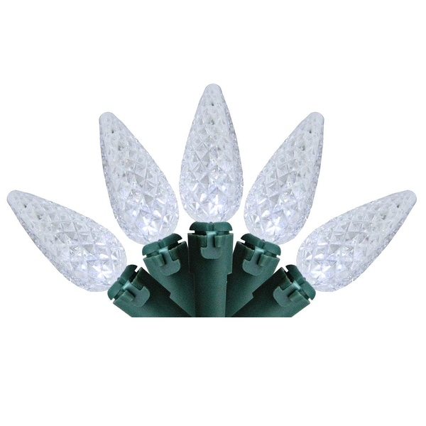 Set of 100 Faceted Pure White LED C6 Christmas Lights - Green Wire - CLEAR