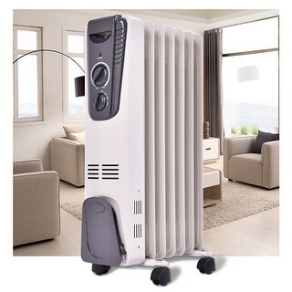 Costway 1500W Electric Oil Filled Radiator Space Heater 5.7 Fin Thermostat Room Radiant - White