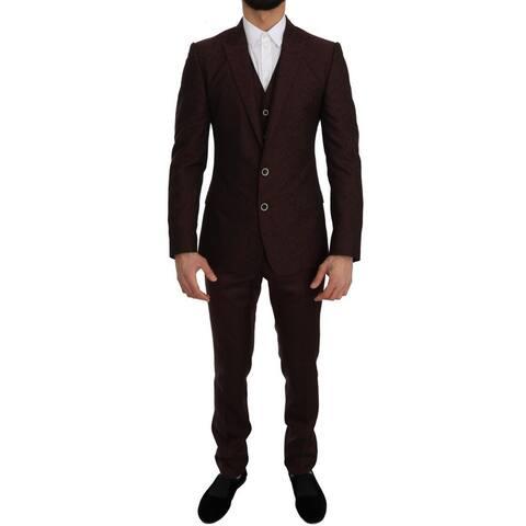 Dolce & Gabbana Bordeaux Wool Silk MARTINI Slim Fit Men's Suit - it46-s