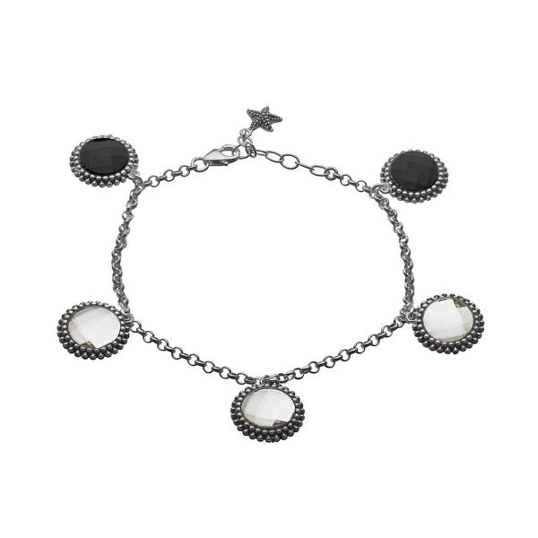 Aya Azrielant Reversible Charm Bracelet with Jet Black & White Swarovski Crystals in Sterling Silver