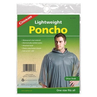 Coghlan's Medium-Weight Reusable Waterproof Vinyl Hooded Poncho - Olive Drab