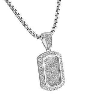 Dog Tag Pendant Custom Lab Stones Iced Out Steel Necklace Military Pave