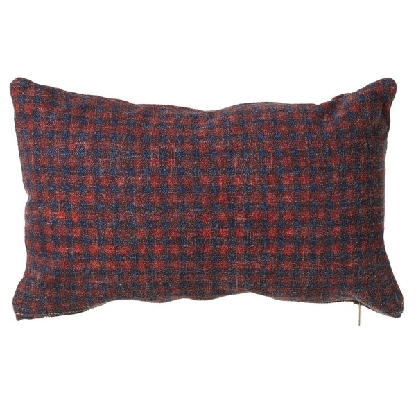 """Set of 2 Red and Blue Plaid Patterned Rectangular Throw Pillow 20"""""""