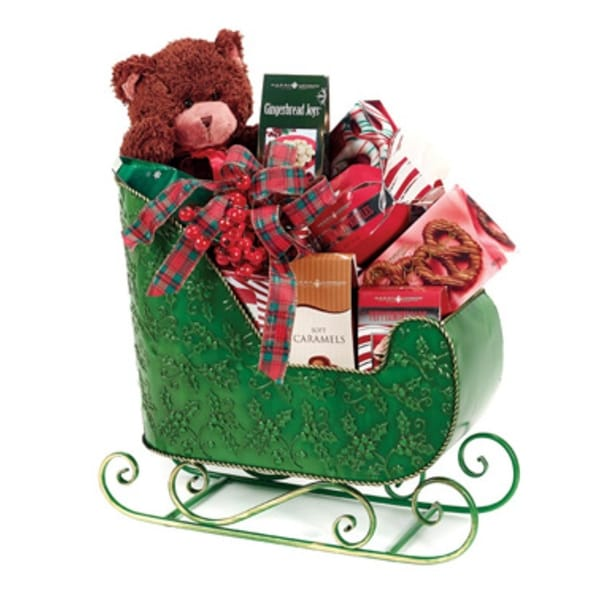 """22.5"""" Decorative Green Santa's Sleigh Christmas Display Decoration with Holly Berry Accents"""