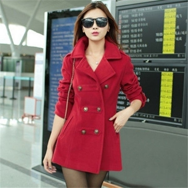 New Women Trench Woolen Coat Winter Slim Double Breasted Overcoat Winter Lapel Coats Long Poncho Outerwear