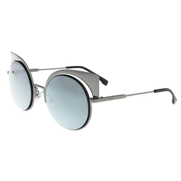 03054ebeef062 Shop Fendi FF 0177 S 0KJ1 Eyeshine Dark Ruthenium Cat Eye Sunglasses ...