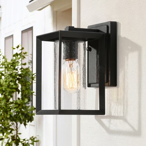 """1-Light Black Outdoor Wall Seeded Glass Light Sconce with Cylinder Shade - L 5""""x W 6.5""""x H 9"""""""