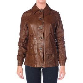 LRL Lauren Jeans Co. Womens Leather Long Sleeves Basic Jacket - 2