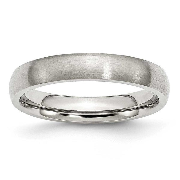 Chisel Brushed Stainless Steel Ring (4.0 mm) - Sizes 6-13