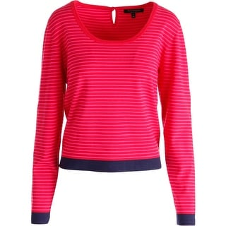 Juicy Couture Black Label Womens Scoop Neck Striped Crop Sweater