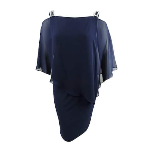 MSK Women's Plus Size Embellished Cold-Shoulder Dress (PM, Navy) - Navy - PM