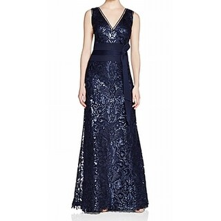 Tadashi Shoji NEW Blue Womens Size 6 V-Neck Sequined Belted Gown Dress