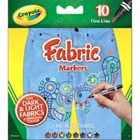 Crayola Fine Line Fabric Markers 10 Colors