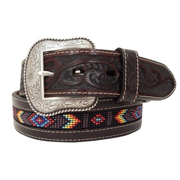 Roper Western Belt Mens Beaded Floral Hand Tooled Brown