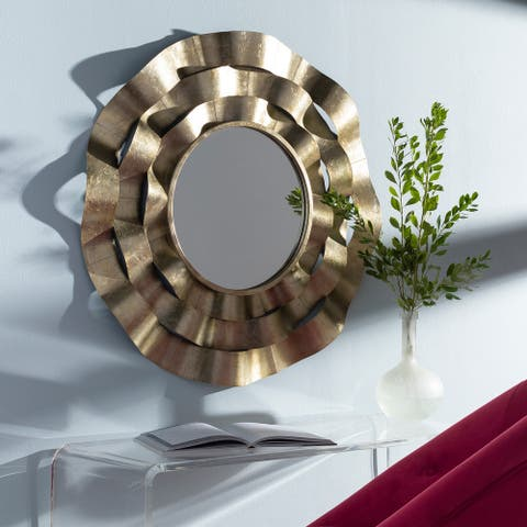 "Seline Contemporary Champagne Metal 33-inch Round Mirror - 33""H x 33""W"
