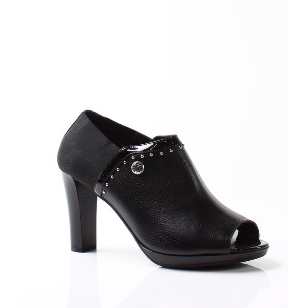 Brighton NEW Black Women's Shoes Size 10M Open Toe Leather Bootie