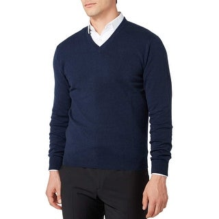 Bloomingdales Mens 2-Ply Cashmere V-Neck Sweater Pacific Blue