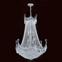 "Worldwide Lighting W83026C30 Empire 15-Light 1 Tier 30"" Chrome Chandelier with Clear Crystals - n/a"