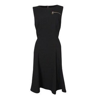 Calvin Klein Women's Zip Faux Pocket Solid Swing Dress - 4