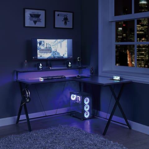 Checkpoint Battlestation L shaped Gaming Desk with RGB LED Lights