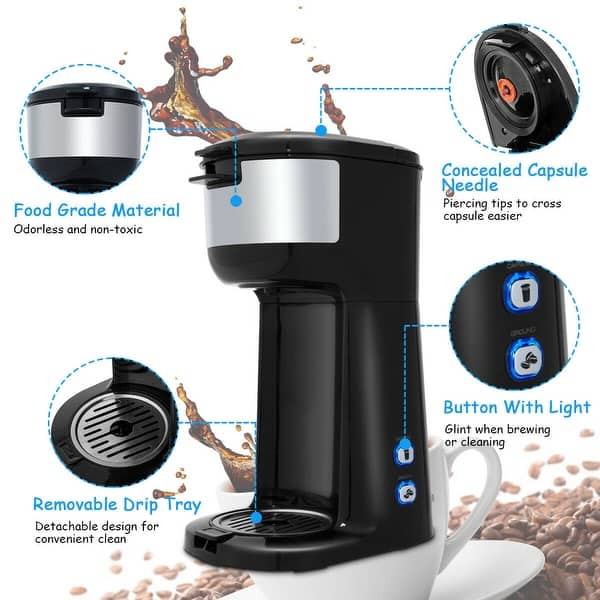 016089617c7 Shop Gymax 2 in 1 Portable Coffee Maker Coffee Machine for Ground ...
