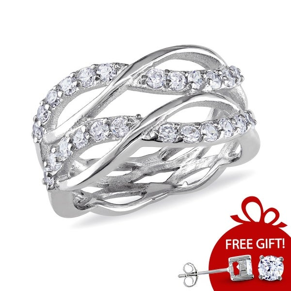 Miadora Sterling Silver Cubic Zirconia Multi-row Eternity Ring. Opens flyout.