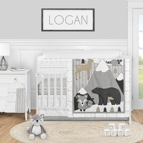 Woodland Forest Animal Collection Boy or Girl 5-piece Nursery Crib Bedding Set - Beige Grey White Boho Mountain Deer Fox Bear
