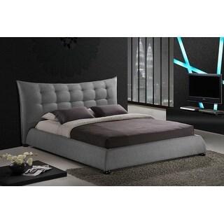 Baxton Studio Marguerite Gray Linen Modern Platform Bed - King Size