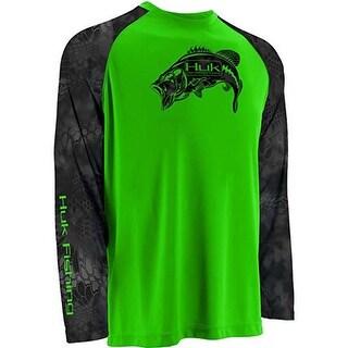 Huk Men's Kryptek Raglan Bass KO 3XL Neon Green Performance Long Sleeve Shirt