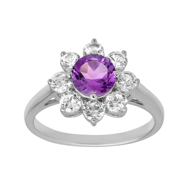 1 7/8 ct Amethyst and White Sapphire Ring in Sterling Silver - Purple