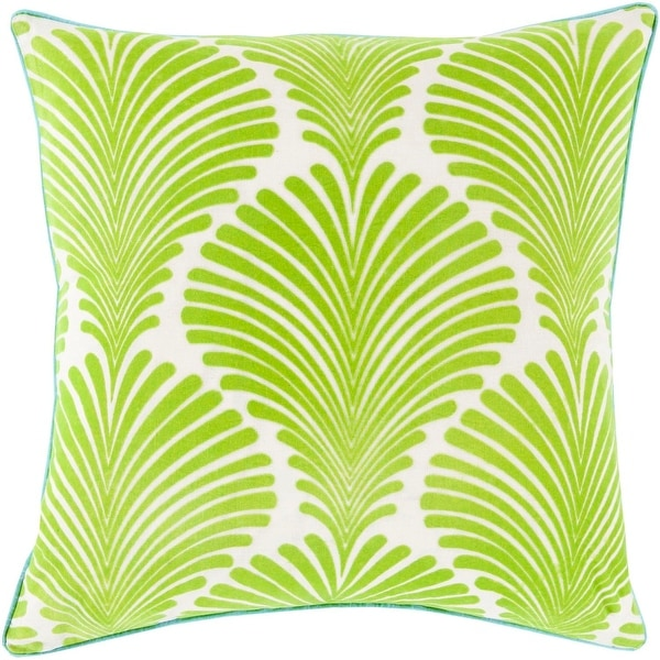 "18"" Green and White Floral Decorative Square Throw Pillow with Piping Edges"